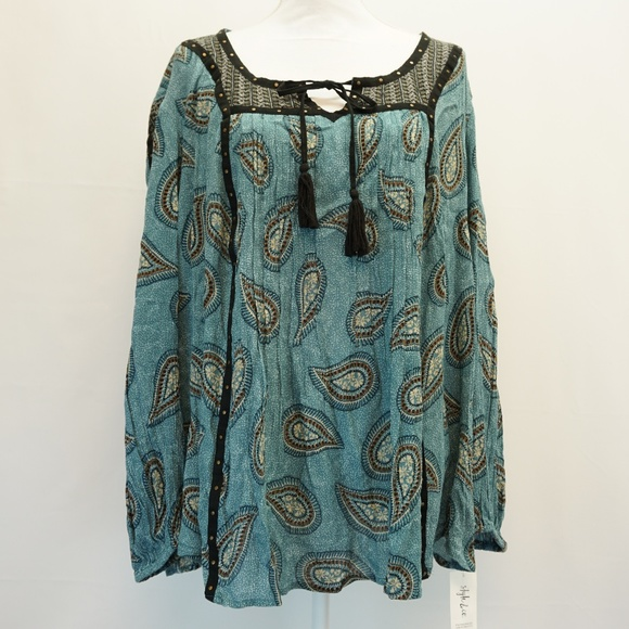 8276c061a989a Style   Co Studded Peasant Top Paisley Print